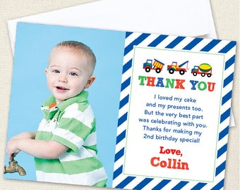 Trucks Party Photo Thank You Cards - Professionally printed *or* DIY printable