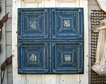 Antique Tin Ceiling Tile. FRAMED 2x2 antique metal tile.  Vintage architectural salvage. Indigo blue wall decor. Old pressed tin.