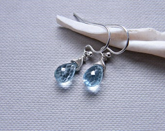 Blue topaz earrings, dainty earrings, sky blue topaz silver earrings, PETITE gemstone earrings, wire wrapped December birthstone earrings