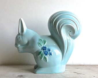 Vintage Ceramic Squirrel Blue Figurine