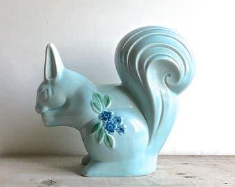 Vintage Ceramic Squirrel Blue Figurine