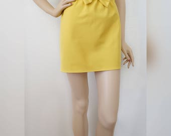 XS - Bright Yellow Mini Skirt with Bow | Small Skirt | Mini Skirt | Stretch Skirt | Yellow Skirt| Extra Small