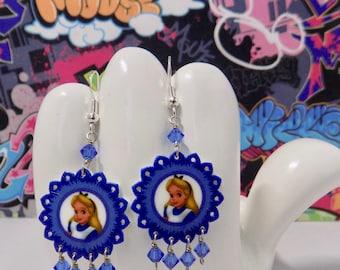 Alice in Wonderland Blue Floral Dangle Earrings