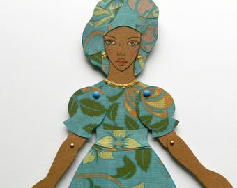 Black Paper Doll, African American Paper Doll, Jointed Paper Doll, Articulated paper Doll, Paper Puppet, Fashion Paper Doll, Floral Dress