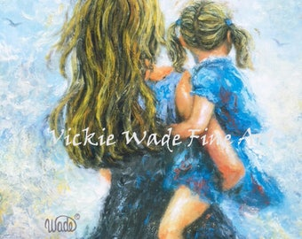 Mother Daughter Art Print, mother paintings, blonde mother blonde daughter, girls room blue, blue wall decor, blonde girl, Vickie Wade