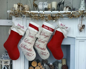 Linen Christmas Stockings Dog Stocking Cat Rustic Chic Embroidered Personalized Holiday Modern Pet with Bow and Pleat Cuff Designer Names