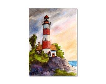 LIGHTHOUSE 1 watercolor seascape sunset painting Sandrine Curtiss ORIGINAL art ACEO