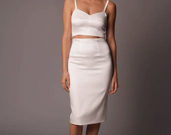 Rome Skirt: Classic High Waist Pencil Skirt in Stretch Satin