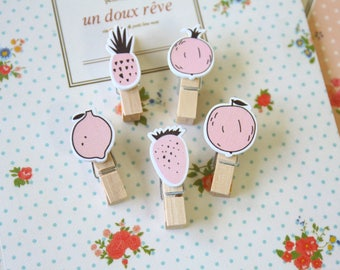 Pink Fruits Cute Wooden Pegs Photo Clips