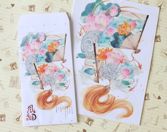 Floral Fan cartoon writing paper & envelopes letter set
