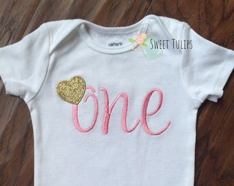 First Birthday Outfit - First Birthday Girls - First Birthday Pink and Gold - Pink and Gold Outfit