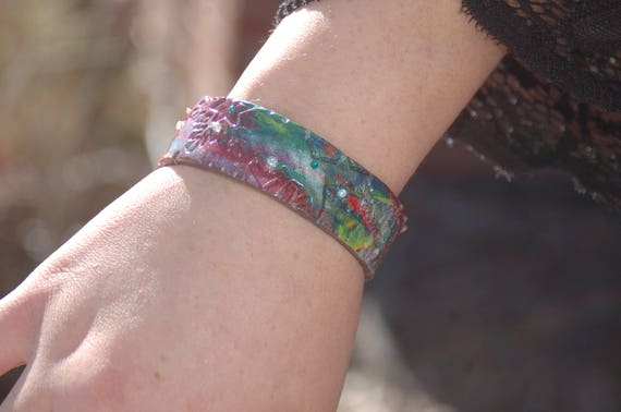 "Polymer Clay Leather-Like Cuff Bracelet - ""A Sparkling Breeze"""