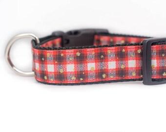 Perfectly Plaid Dog Collar - 1 inch wide - buckle or martingale - buffalo plaid dog collar - red collar- rustic dog collar - boy dog collar