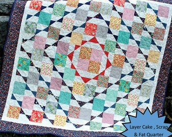 Nellie's Hope Chest Quilt Pattern - Layer Cake, FQ or Scrap Friendly Pattern - Easy Quilt Pattern - Sweet Jane's Quilting and Design