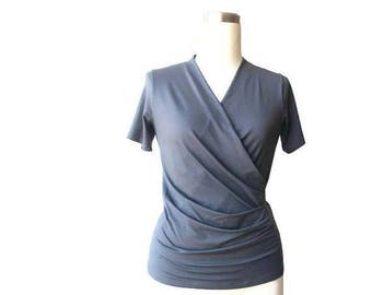 Wrap top, Grey wrap top, Wrap blouse shirt top, Gray womens top, Handmade clothing, US size 12/US size 14, Ready to ship