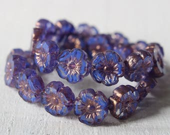 10mm Flower Beads - 10mm Hawaiian Flower Beads - Pansy Flower Beads - Sapphire Blue Stripe - Choose Amount