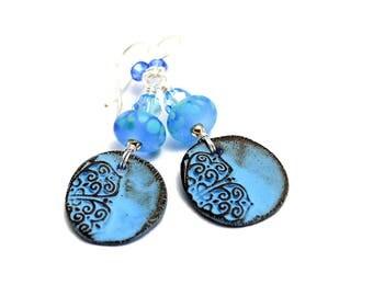Bright Blue Lampwork Bead Earrings. Handmade Ceramic Charms. Boho Gypsy Ethnic Earrings. Dangle Earrings. Gifts For Her. Glass Bead Jewelry.