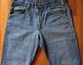 Vintage LEE Riders Selvedge Jeans, w/ Talon zipper, tagged 36 fits 34, faded blue, 1960's 1970's