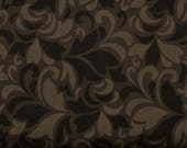 Black, Gray, and Brown Feather Swirls 100% Cotton Quilt Blender Fabric, Flint Collection from Red Rooster Fabrics, RER468626486-BLA1