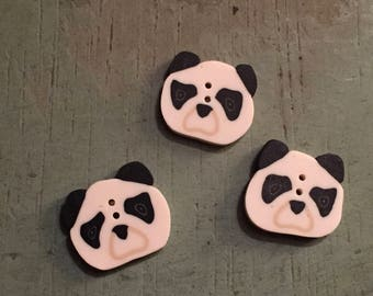 "Panda Face Buttons, ""Small Panda"" Handmade Buttons by JABC, Set of 3 Buttons, Sewing, Cross Stitch, Embellishments"
