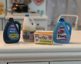Miniature Laundry Room Products, Detergent, Bleach, Fabric Softener, 4 Piece Set, Dollhouse Miniatures, 1:12 Scale, Dollhouse Decor
