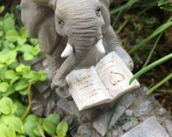Elephant Figurine, Elephant Reading A Book, Mini Elephant, Style 4565, Fairy Garden Accessory, Home & Garden Decor, Shelf Sitter, Topper