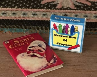 Miniature Santa Claus Coloring Book and Crayon Box, Dollhouse Miniature, 1:12 Scale, Dollhouse Accessory, Holiday Decor, Mini Book