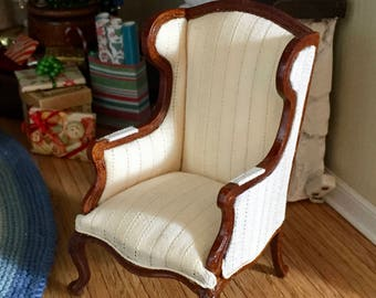 Miniature Wing Back Chair, Queen Anne Style, Cream Fabric, Walnut Wood Framed Chair, Style 44, Dollhouse Miniature Furniture, 1:12 Scale
