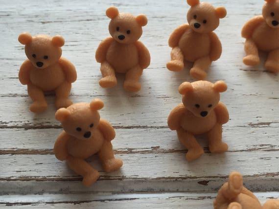 Micro Mini Teddy Bears, Set of 12 by Miniature Corner, Plastic Bears, Mini Teddies, Crafting, Favors, Gifts, Embellishments