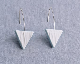 RUCHED No15 geometric triangle earrings porcelain earrings 925 sterling silver earrings white cerulean drop earrings geo earrings