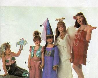 1990s Girls Costume Pattern - Vintage Simplicity 7547 - Size 7 to 14 UNCUT FF Flapper Angel Princess Genie Mermaid