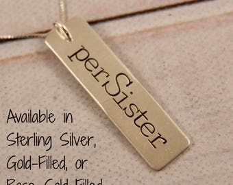 perSister - hand stamped sterling silver charm necklace - layering necklace - persister - feminist jewelry #CO