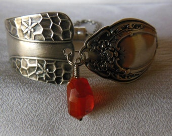 Honey Bee  Antique Spoon Bracelet   7.5 inch With Carnelian Gemstone