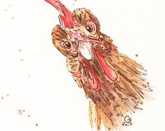 Miniature Chicken Portrait Giclee Print