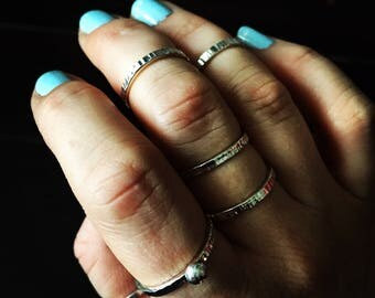 Silver Ball Hammer Texture Stacking Ring - Handmade Sterling Thumb Pinky Thin Wedding Engagement Hammered Pebble Band