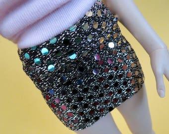 Black Metallic Rainbow Mini Skirt for MSD SD+ Ball Jointed Doll