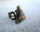 Large Rare Colored Violet Labradorite Triangle Brass Ring Faceted Gemstone Adjustable Size Statement Ring Repurposed Recycled Gemstone Ring