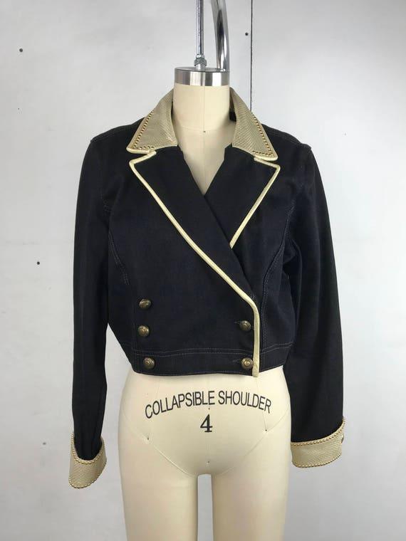 80s Black and Gold Cropped Denim Jacket