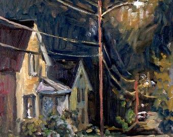 North Adams Nocturne. 10x10 Realist Oil Painting, Plein Air American Impressionist Night Scene Landscape, Signed Original Fine Art