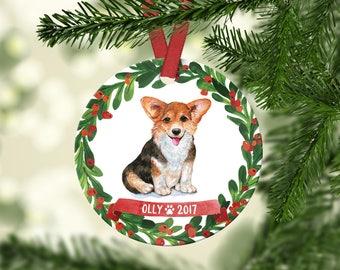 Corgi Ornament Pet Gift Corgi Christmas Ornament Corgi Dog Ornament Dog Christmas Ornament Personalized Custom Corgi Ornament Red Green Cute