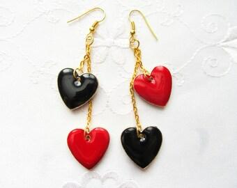 Heart Charm Earrings / Heart Earrings / Queen of Hearts / Black / Red / Hearts / Earrings