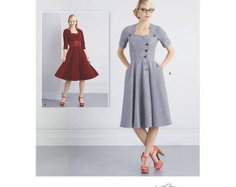 Sz 8/10/12/14/16 - Simplicity Pattern D0545/8259 - Misses' Sew Chic Button Front Dress in Two Variations - Simplicity Patterns