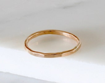 Solid gold, 1.5mm gold ring, stacking ring, thin gold ring, delicate jewellery, dainty ring, hammered ring, wedding band