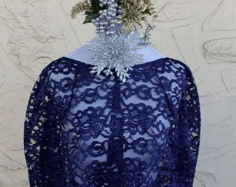 Dark Blue Navy Lace Capelet Lace Cape Cover-up Special Occasion Lace Bridal Wrap Wedding Stole Bridal Shawl -many colors available FREE SHIP