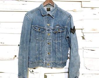 Vintage 60s Lee Union Black Tag Distressed Denim Jacket