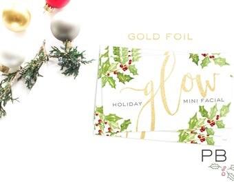Holiday GLOW Mini Facial Card (25 cards) | Skincare, Rodan+Fields, gift, teacher, friend, co-worker, Santa, vintage, chapstick, lip balm