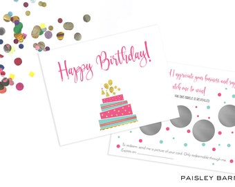 INSTANT DOWNLOAD Birthday Rodan+Fields Scratch off Cards  | customer gift, skincare, 2 sided, business card, printed, R+F, marketing