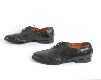 mens size 11 OXFORD spectator black leather 80's BROGUE dress shoes made in ITALY