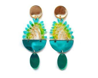Laser Cut Earrings Acrylic Earring Statement Earrings Gold Earrings Flower Earrings Resin Earrings Green Earrings Plant Earrings