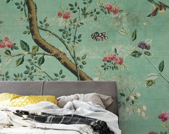 Emerald Green Chinoiserie Wallpaper Self Adhesive Vintage Shabby Branch Birds Removable Wall Mural Dark